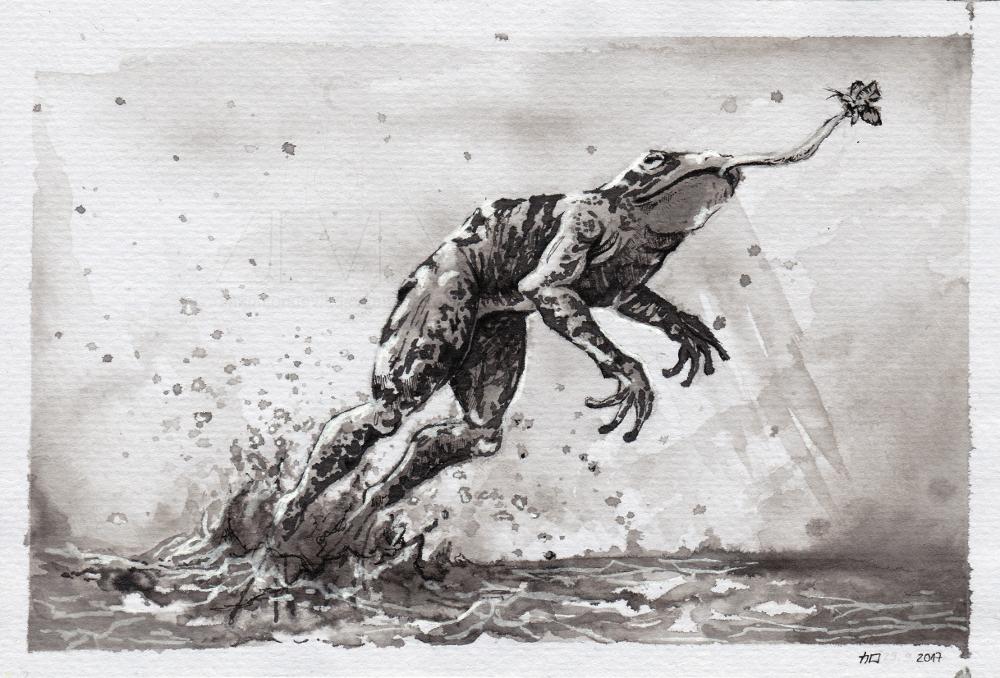 Inktober | Day 1: The Frog  by CinnamonDevil