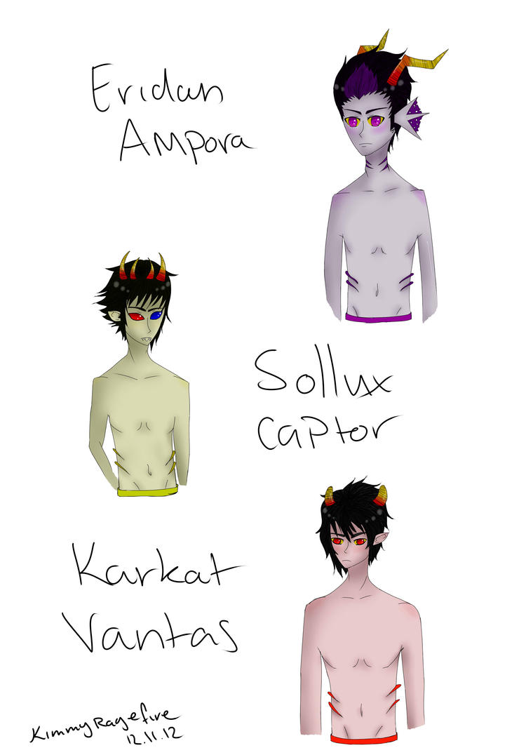 Eridan karkat and sollux by kimmyragefire