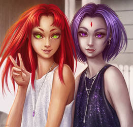 Starfire and Raven by Dzydar