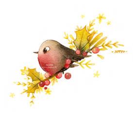 Oiseau Noel Version Rouge et Or vert