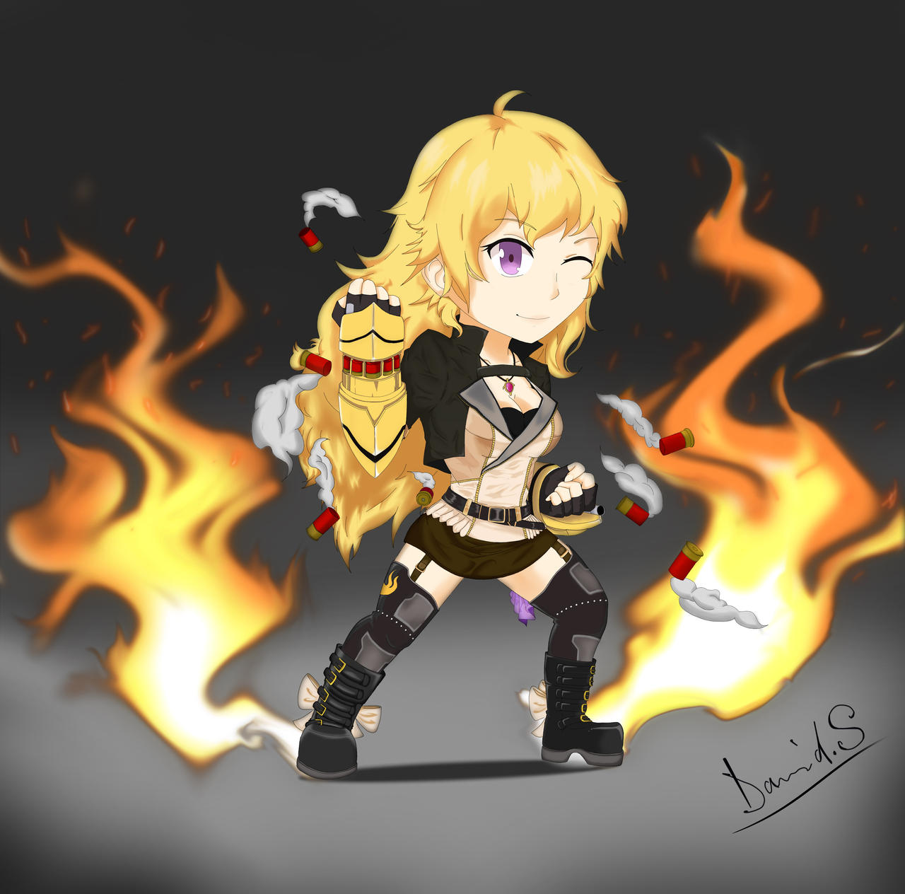 Yang Xiao Long Wallpaper: RWBY: Chibi-Yang Xiao Long (Colored) By Banshee32 On