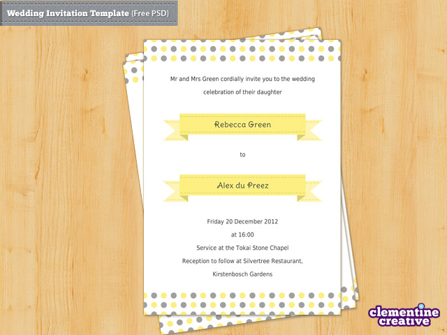 Free Wedding Invitation PSD Template by ClementineCreative