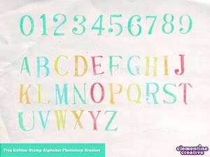 Free alphabet rubber stamp photoshop brushes