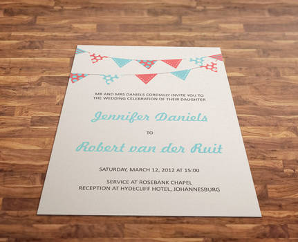 Bunting wedding invitation by ClementineCreative