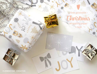Free printable Christmas wrapping paper and tags by ClementineCreative