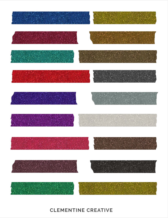 Free Digital Glitter Tape Strips by ClementineCreative