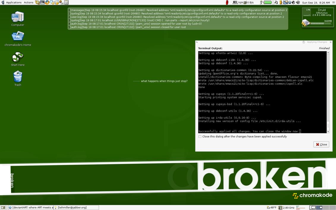 Gnome 2.8 + GDesklets by Chromakode