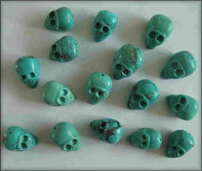 TIBETAN HAND CARVED TURQUOISE SKULLS by Voodoomamma