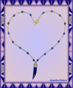 BLUE AGATE HORN NECKLACE