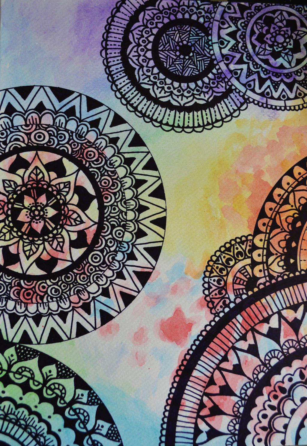 Watercolor zendoodle by EverestPhoto