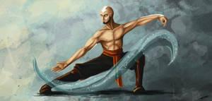 Aang waterbending by Dracarian