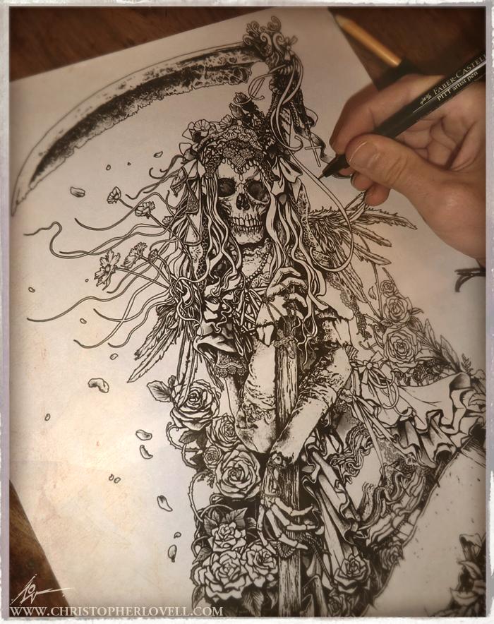Santa Muerte - Inked sketch by Lovell-Art on DeviantArt