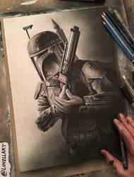 Boba Fett Sketch - Inktober by Lovell-Art