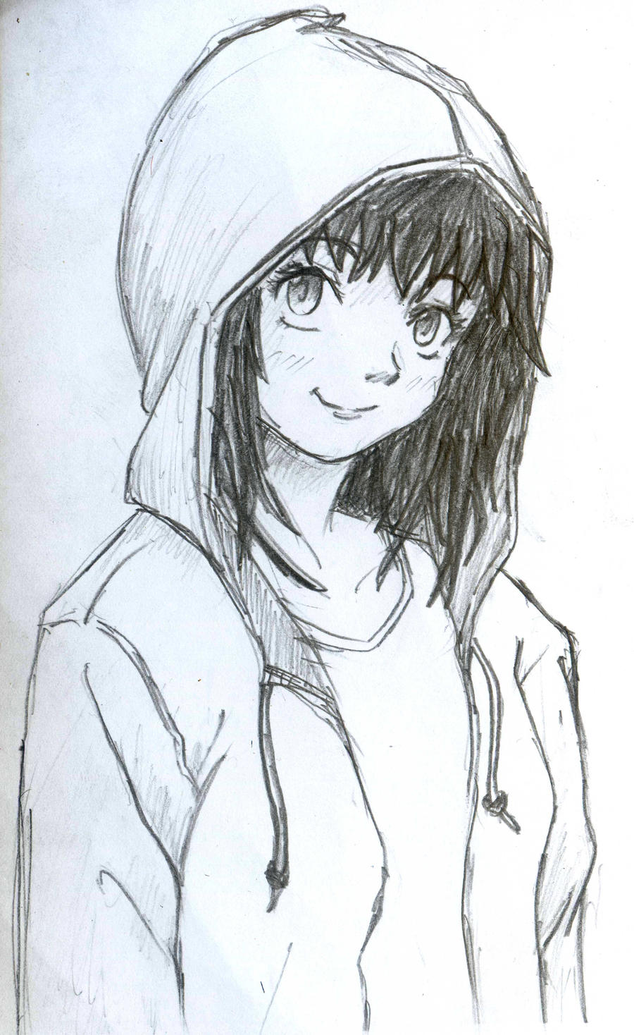 hoodie girl by diyanahnadzree traditional art drawings people 2012    How To Draw Anime Girl With Hoodie