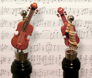 Violin Wine Stopper by pixipanda