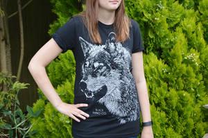 Female Model - Black Rhino Co. T-Shirt Design Wolf by JackSephton