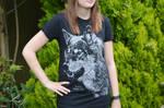 Female Model - Black Rhino Co. T-Shirt Design Wolf