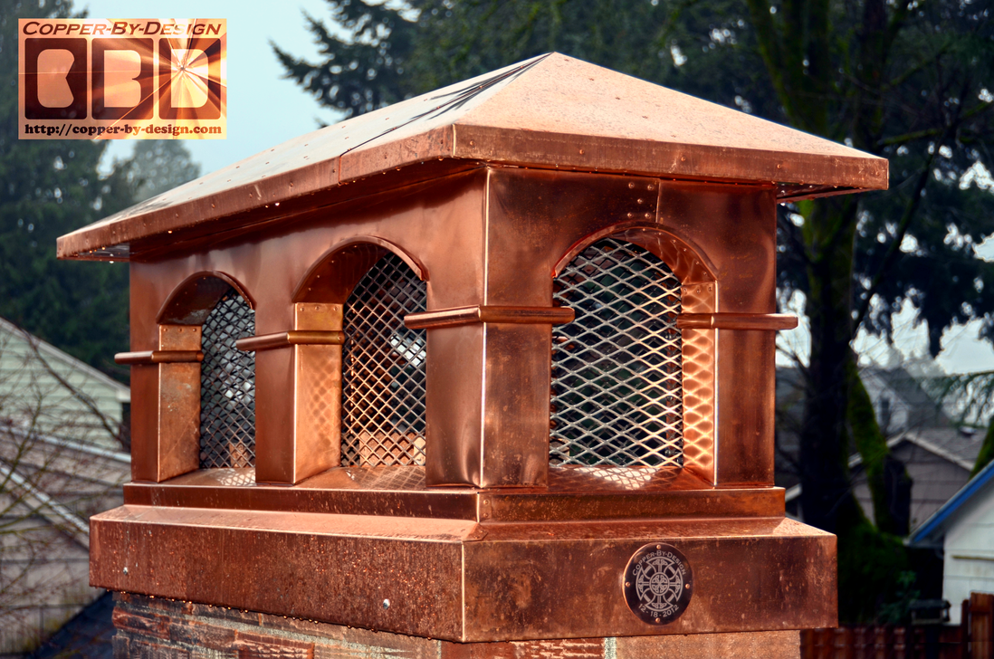Double Arch Tuscany Style Copper Chimney Cap By Darrian