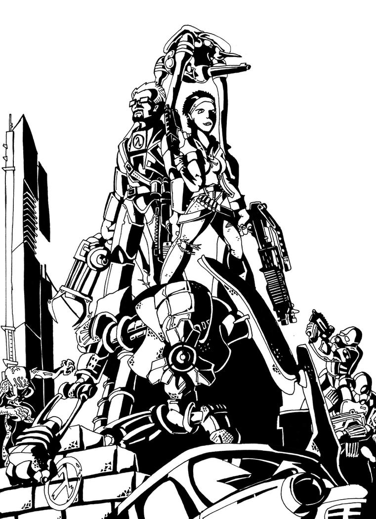 Gordon, Alyx and Dog: Anticitizens (b/w) by HerculeDevantrien