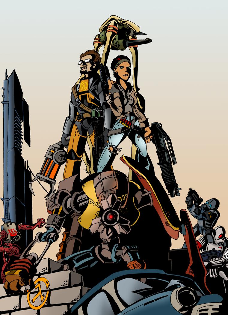 Gordon, Alyx and Dog: Anticitizens (color) by HerculeDevantrien