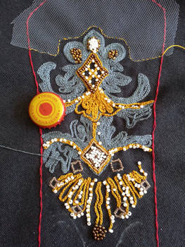 Embroidery WIP _ Padme Packing Gown