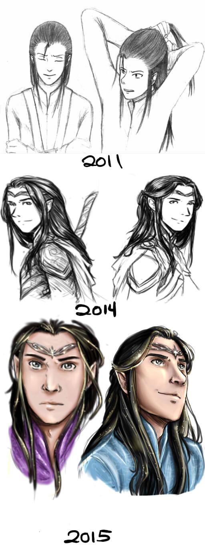 Art Comparison - Elladan and Elrohir by elf-artist87
