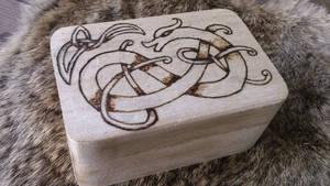 Viking Dragon Knotwork Wooden Box