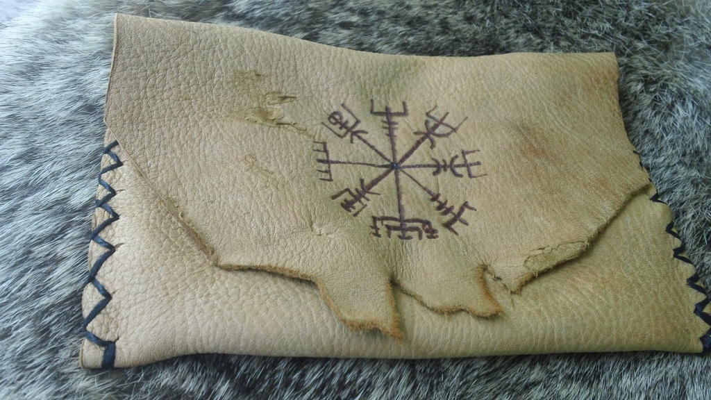 Vegvisir Leather Belt Pouch by Troll-Blood