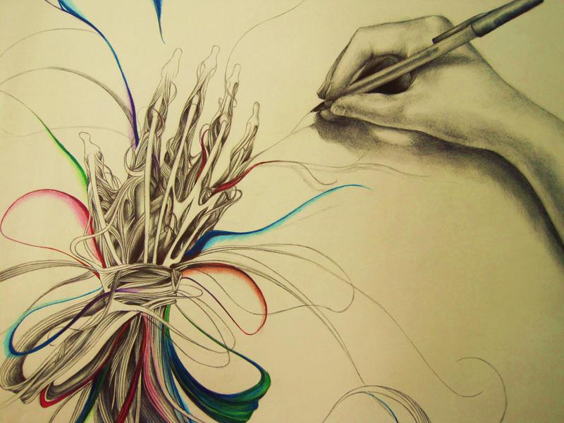 Ballpoint hand study part 2: Creativity by gretzkyfan99