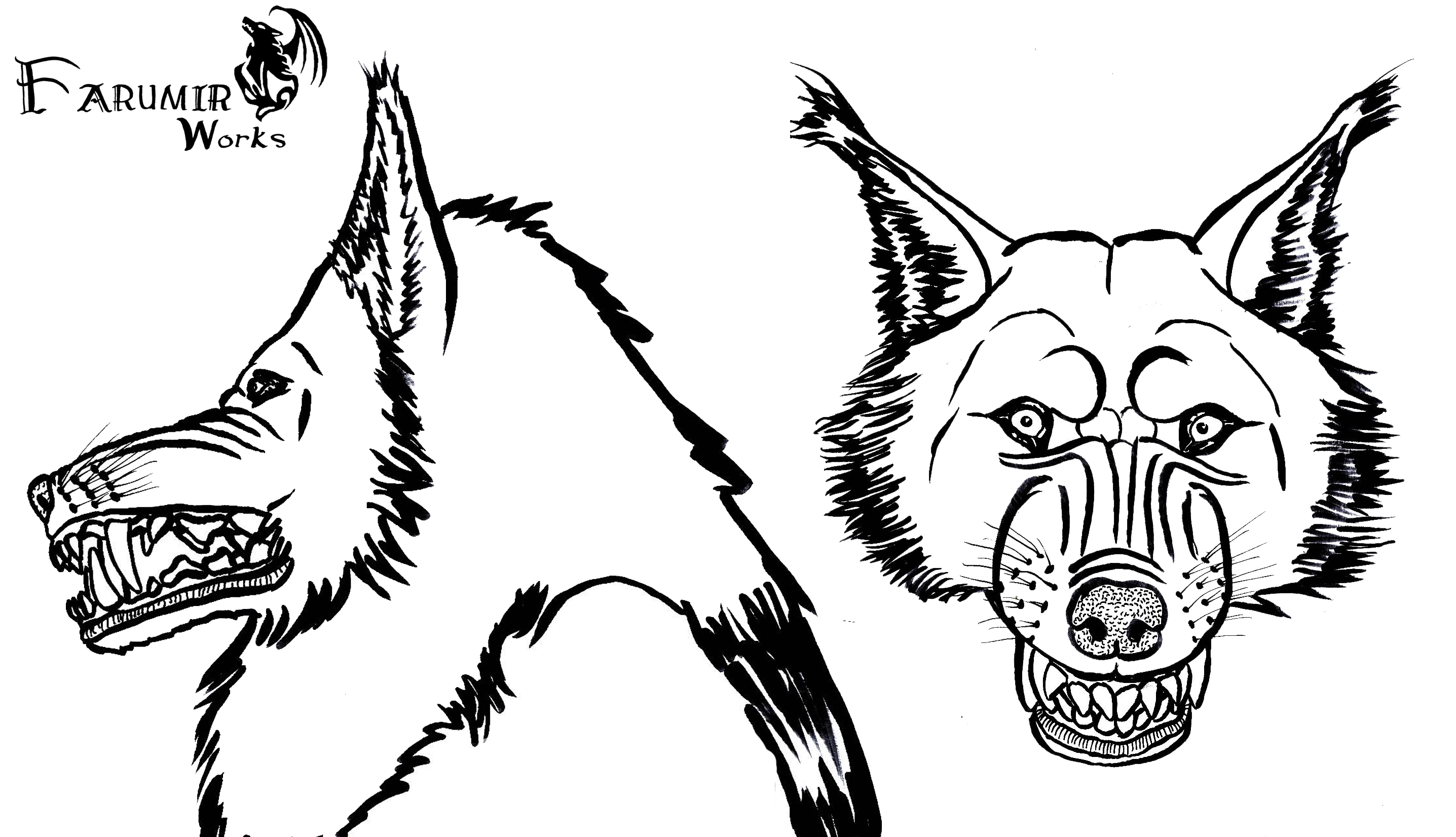 Line Art Free : Free to use lineart on wolves and hyenas deviantart