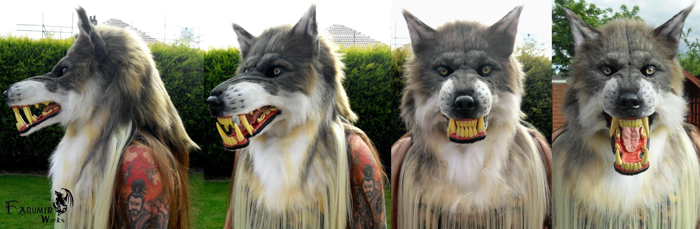 Grey 'Beta' Werewolf mask commission by Farumir