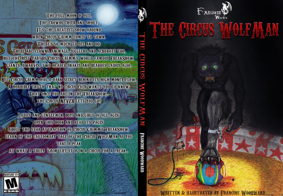 Finished book cover for The Circus Wolfman by Farumir