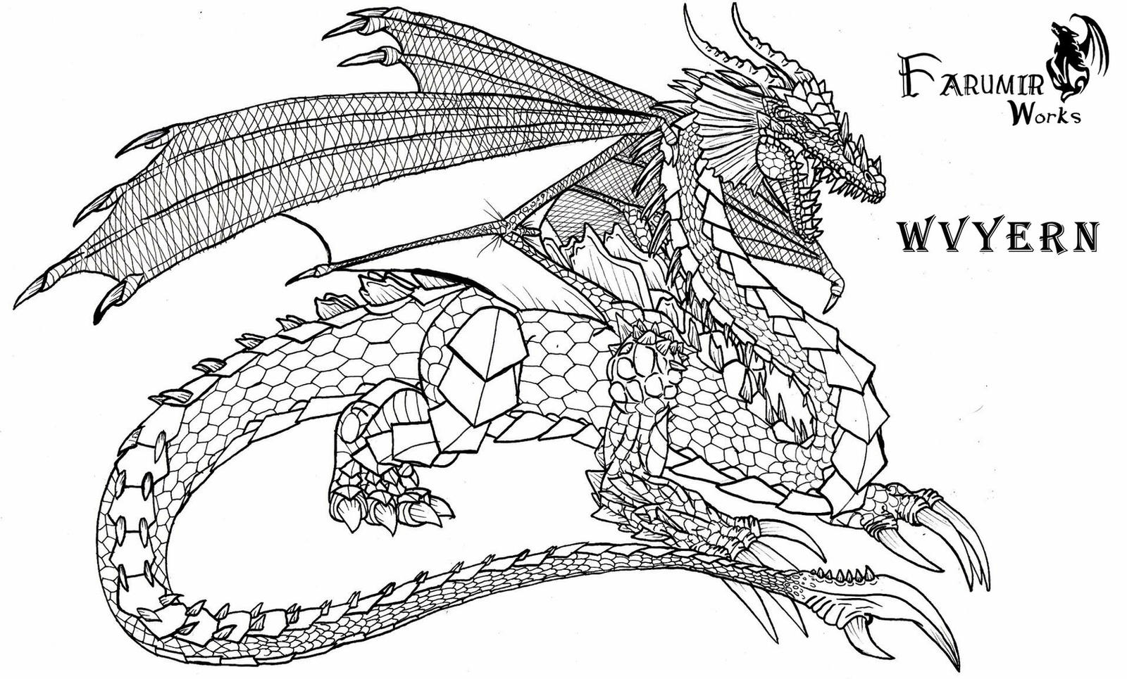 Line Art Deviantart : Wyvern dragon line art by farumir on deviantart