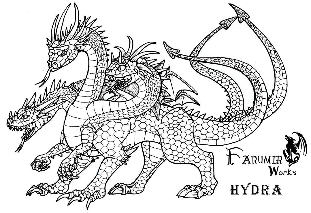 Line Art Deviantart : Hydra dragon line art by farumir on deviantart