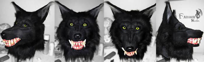 Black Werewolf mask commission