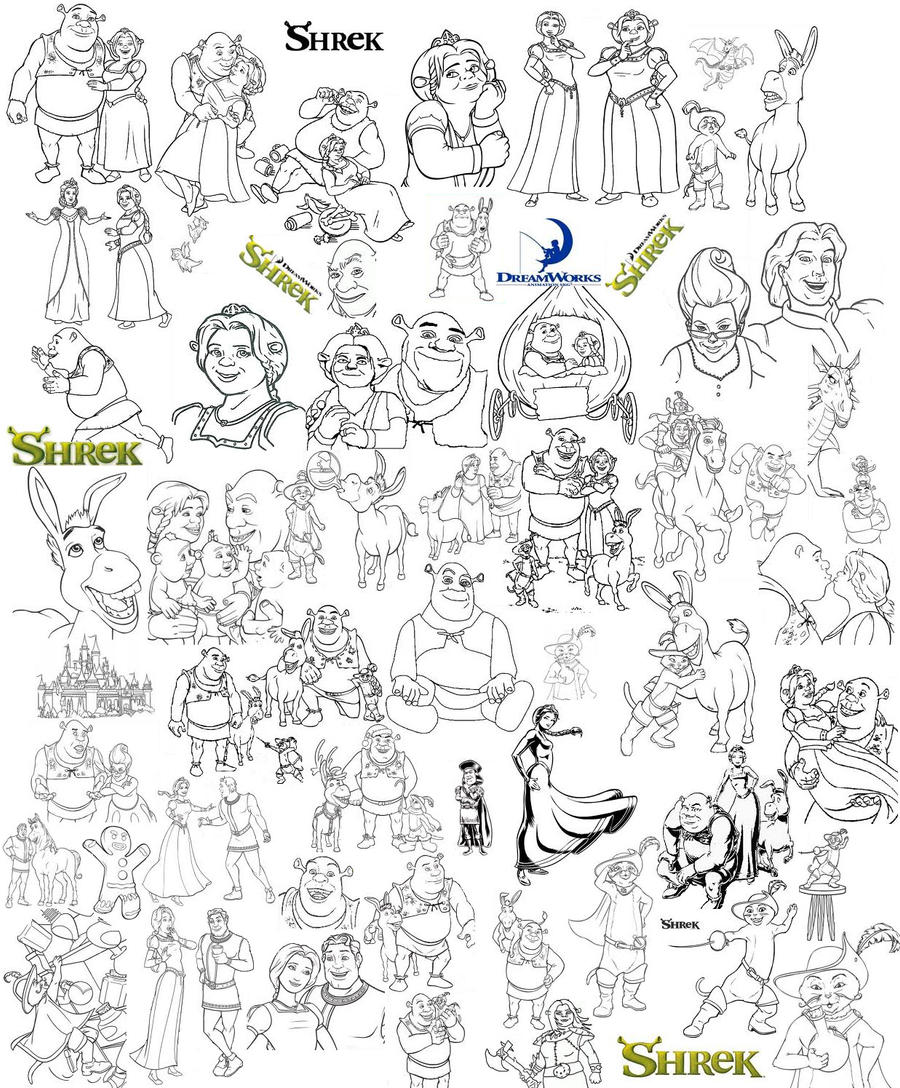 Shrek's Coloring Page Collage By CatGal15 On DeviantArt
