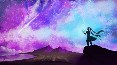 Hatsune Miku and night sky [VIDEO] by OfufkowyRysownis
