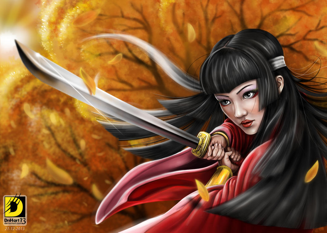 Samurai Girl (Autumn theme) by dnhart13