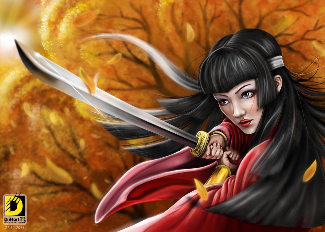Samurai Girl (Autumn theme) by dnhart13
