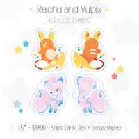 Vulpix + Raichu Charm Pre-Order by ieafy