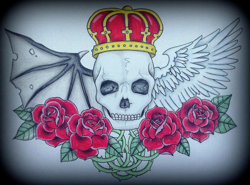 skull heaven and hell tattoo design by redfoxrox on deviantart. Black Bedroom Furniture Sets. Home Design Ideas