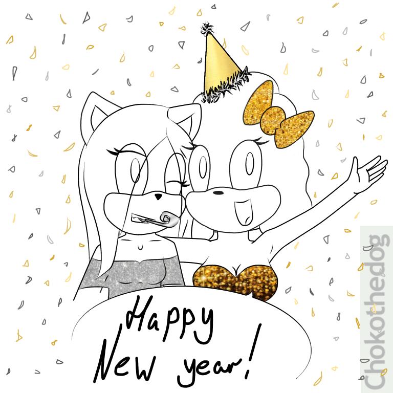 Happy New Years! Sara n' Choko by Chokothedog