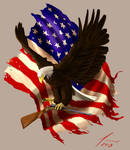 Eagle, Flag and Rifle Tattoo Design