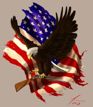 Eagle, Flag and Rifle Tattoo Design