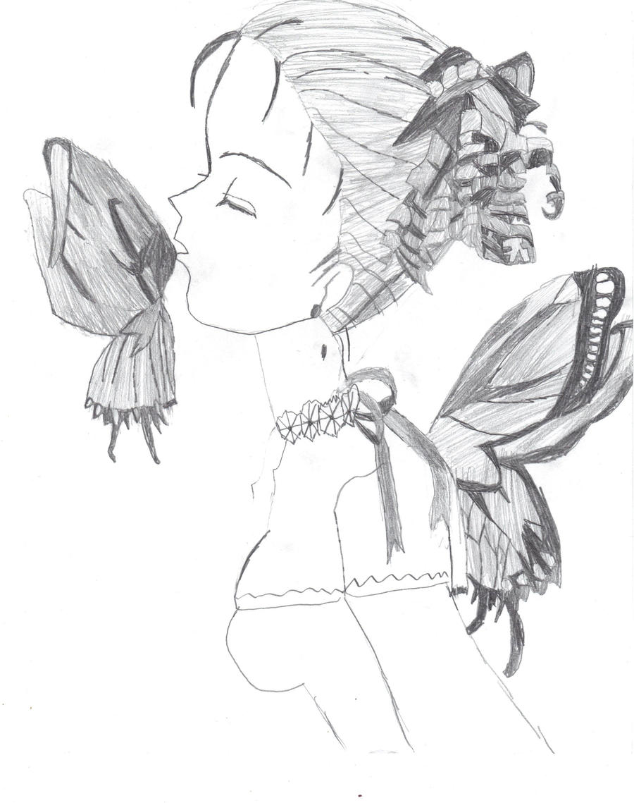 drawing 1butterfly anime girl by xxprincessxzeldaxx on