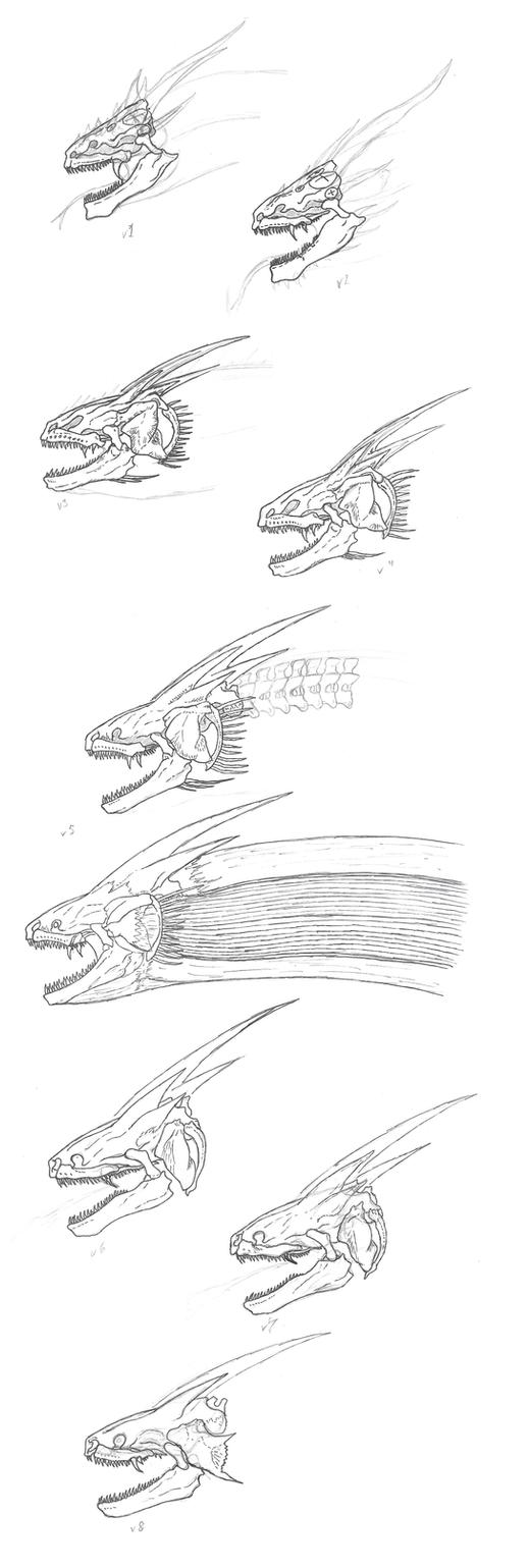 Legendary Ghidorah Skull concepts by KitWhitham