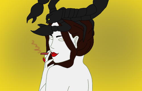 Lady with a scorpion on the head by mihaela12