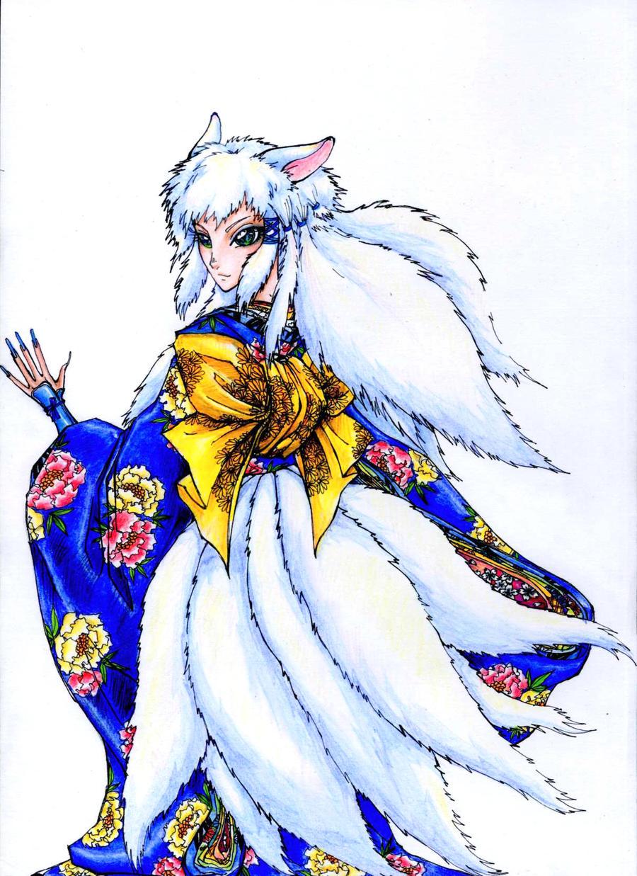 Anime White Kitsune white kitsune - colore...