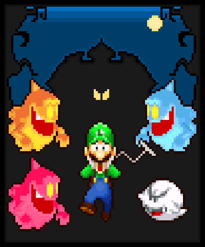 Modèle Dart Pixel Luigi Mansion Nombgenthouvihocf