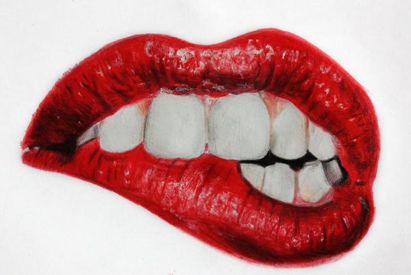 #Biting lips drawing by Batschi96 on DeviantArt